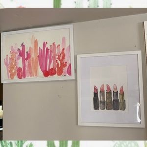 Pink cactus and lipstick art frame